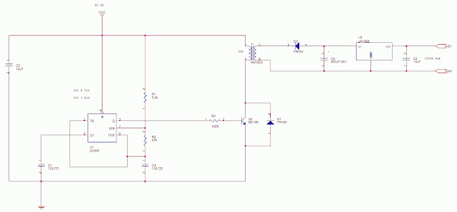 +5 to -5 using a 555 Astable Multivibrator