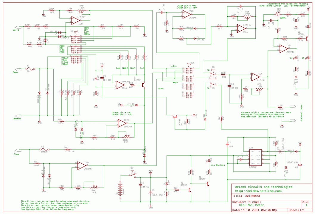 Analog Dial Amps-Volts-Ohms Meter