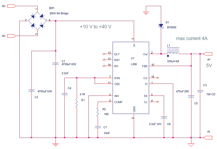 Digital 5V Power Supply using L296