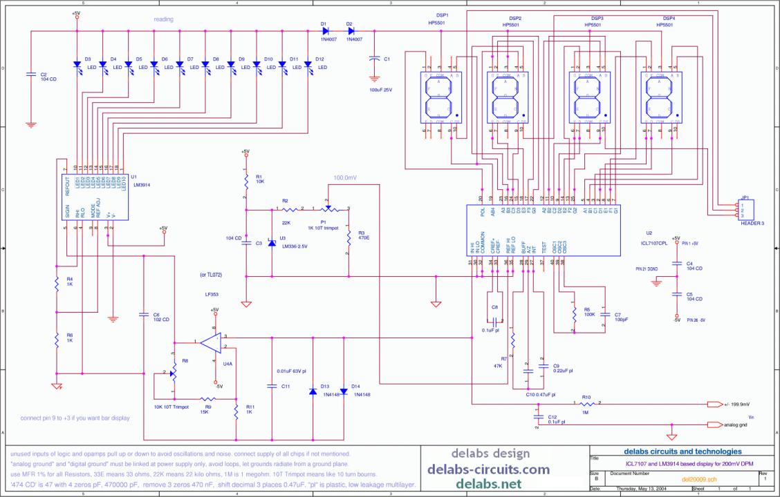 Analog and Digital Voltmeter using ICL7107
