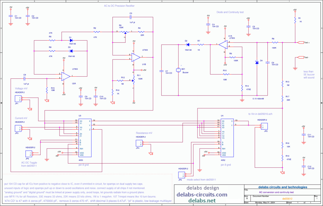 AC conversion and Continuity - DMM
