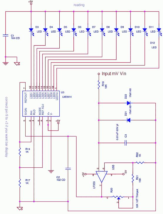 Millivolt Meter using a LM3914 LED Dot Display