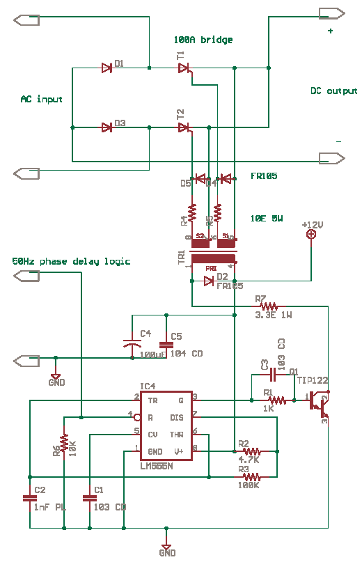 Drive SCR thyristor with 555