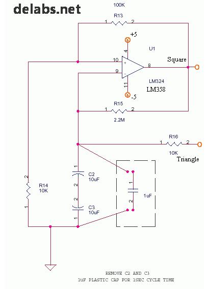 Square and Triangle Opamp Oscillator
