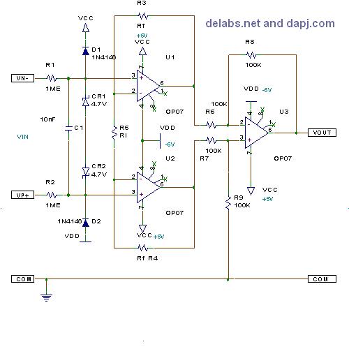 Three Opamp Differential Instrumentation